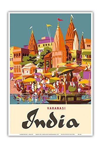Varanasi India - Ganges River - (Banares, Banaras, Kashi) in Uttar Pradesh - Manikarnika Burning Ghat - Vintage World Travel Poster by Charles Baskerville c.1959 - Master Art Print - 13in x 19in by Pacifica Island Art