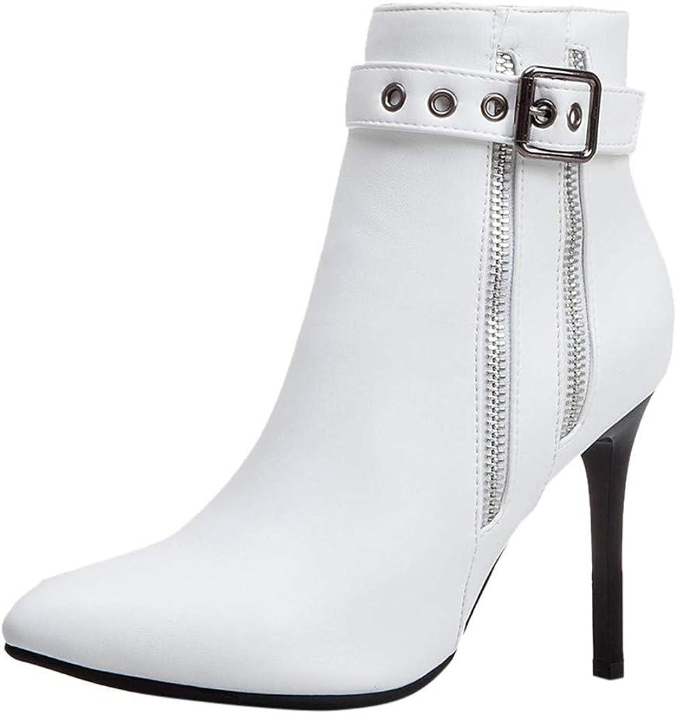 TWIFER Mujeres Botas Cuero Botines para Mujer Boots Moda Casual Zapatos Otoño Invierno Elegante Bootie Tacón Alto Botas con Cremallera Negro Azul Blanco Amarillo 35-43