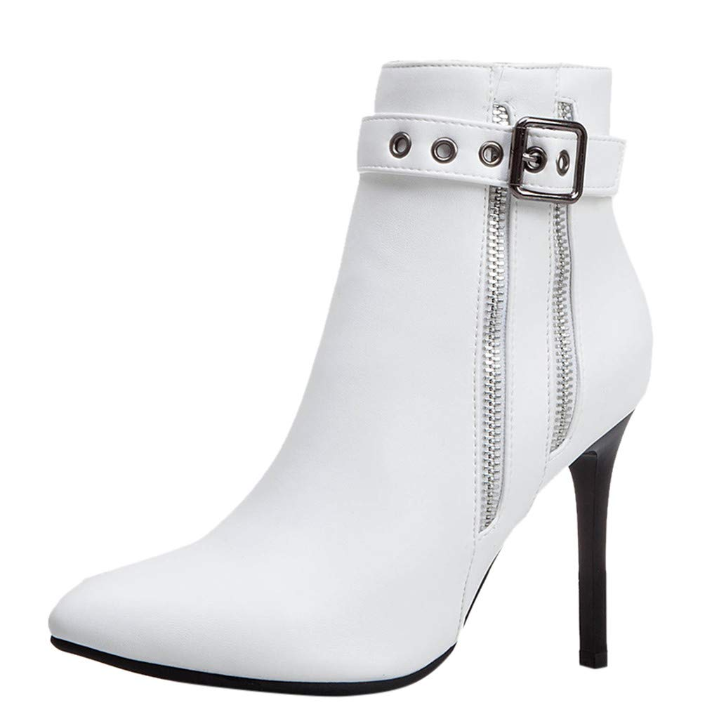 Dermanony Women's High Heel Boots Fashion Pointed Buckle Zipper Leather Boots Waterproof Platform Thin Heel Ankle Boots White by Dermanony _Shoes