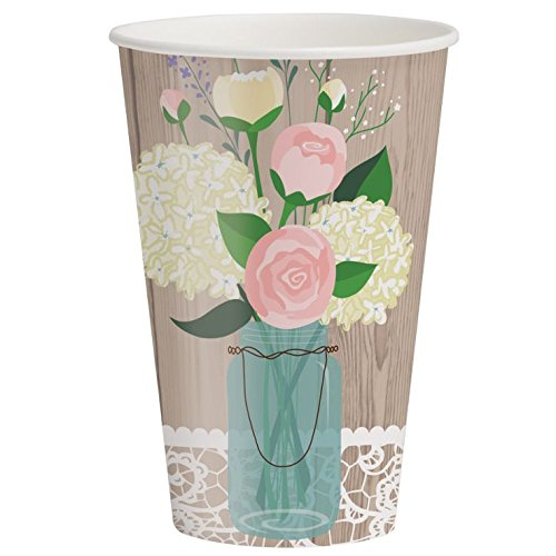 Rustic Wedding 12 oz Paper Cups 8 Per Pack by Creative Converting