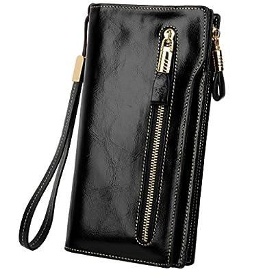 YALUXE Women's Large Capacity Luxury Waxed Leather Wristlet Wallet With Zipper Pocket
