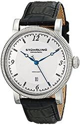 Stuhrling Original Men's 719.01 Metropolis Parliament Swiss Quartz Date Silver Dial Watch