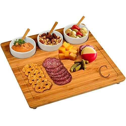 """Picnic at Ascot Personalized Engraved Bamboo Cheese Board/Charcuterie Platter - Includes 3 Ceramic Bowls with Bamboo Spoons - 13"""" x 13"""" - Designed and Quality Checked in the USA - Letter - C"""