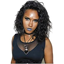NiceToBuy Glueless Short Bob Lace Front Wigs with Baby Hair For Black Women Natural Wavy Curly Brazilian Virgin Human Hair Wigs 12inch On Sale (12inch, Natural Color)