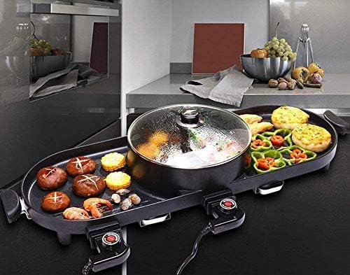 Gril électrique sans fumée et pot chaud 2 en 1, Barbecue en acier inoxydable et gril de cuisson à friture Machine à soupe pour table de cuisson à riz