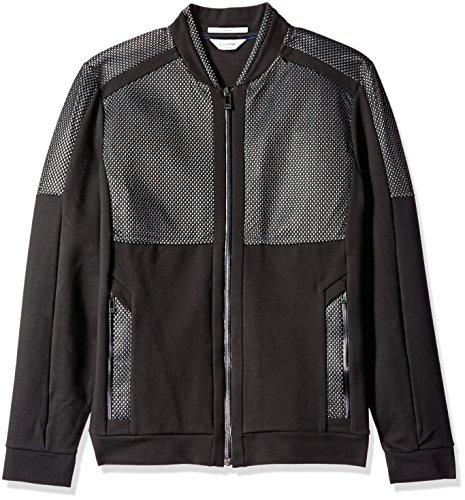 Calvin Klein Men's Slim Fit Full Zip Ponte and Mesh Sweater, Black, X-Large by Calvin Klein