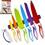 Color Knife Set Top Stainless Steel Knife Set Gift Set in Box by LeDish™ Includes Chef Bread Slicer Santoku Utility Paring Knife PLUS Magnetic Strip and Professional Sharpener
