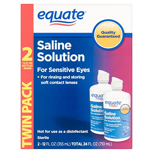 Equate Saline Solution, Contact Lens Solution for Sensitive Eyes Twin Pack 2 x 12 fl oz