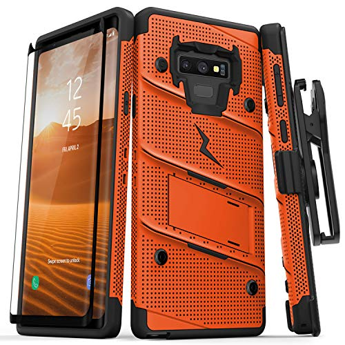 (Zizo Bolt Series Galaxy Note 9 Case with Holster, Lanyard, Military Grade Drop Tested and Tempered Glass Screen Protector for Samsung Galaxy Note 9 Cover - Orange/Black)