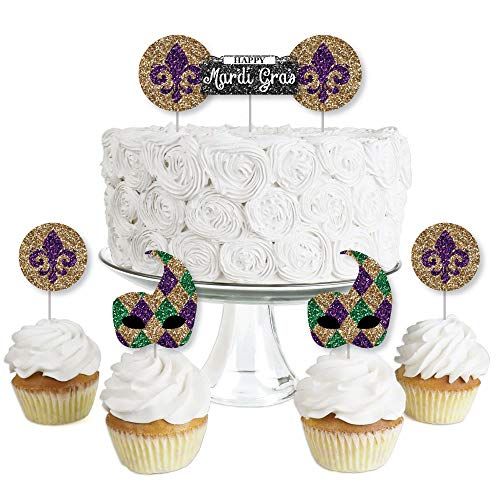 Mardi Gras - Dessert Cupcake Toppers - Masquerade Party Clear Treat Picks - Set of 24 ()