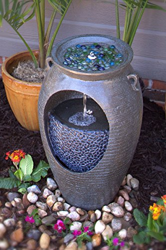 Pebble Lane Living FreeStanding Electric Outdoor LED Freestanding Lighted Stone Finish Double Urn Fountain- Dark Bronze