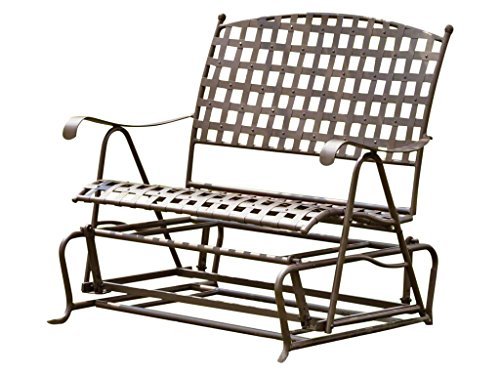 International Caravan, Santa Fe Iron Porch Double Glider Garden Bench