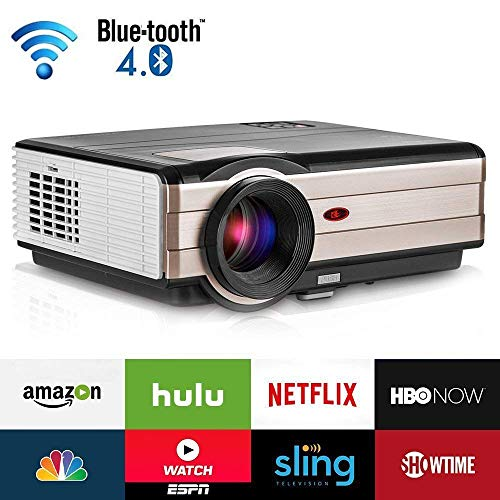 4200 Lumen LCD LED HD Home Theater Wireless Projector with Android Bluetooth, Support Full HD 1080P HDMI WiFi Airplay Smart Multimedia TV Proyector for Outdoor Indoor Movie Holiday Party Game Console