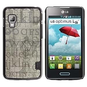Qstar Arte & diseño plástico duro Fundas Cover Cubre Hard Case Cover para LG Optimus L5 II Dual E455 / E460 / Optimus Duet ( Letters Alphabet Blue Grey Random Modern)