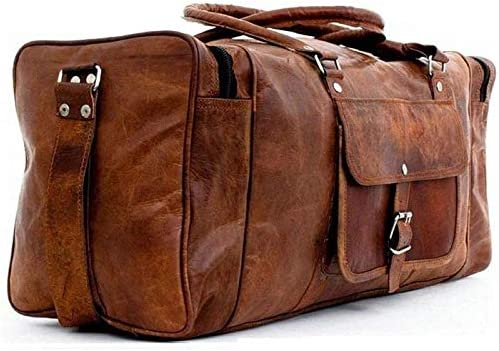 Overnight Weekend Vintage Handmade Brown Leather Travel Gym Sports Duffel Bag 28
