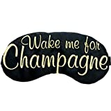 Wake Me For Champagne Sleep Mask Black and Gold Embroidered Eye Mask Bachelorette Party Favors Brunch Champagne