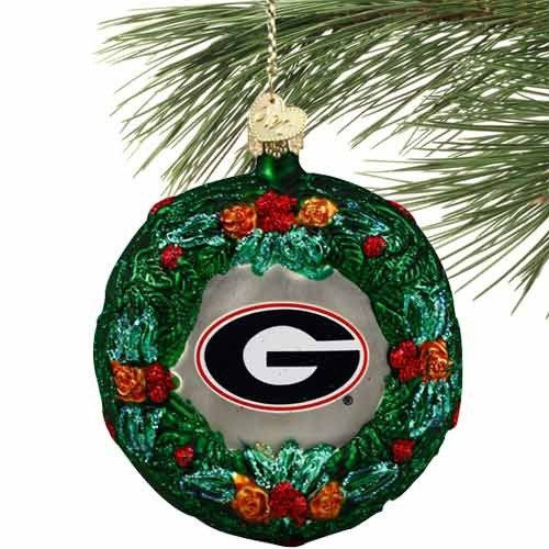 NCAA Georgia Bulldogs Glass Wreath Ornament