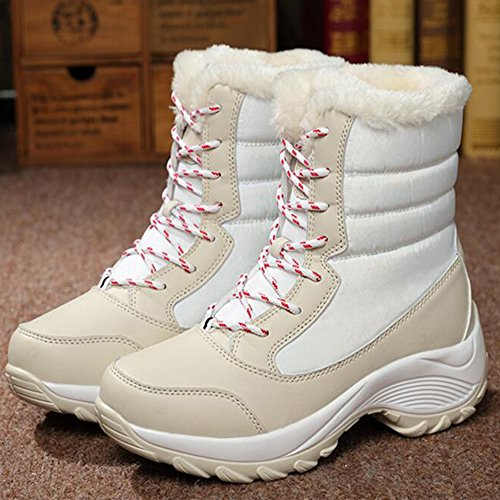 Eastlion Women's Winter Fleece Warm Anti-Skid Snowboots Combat Boots Sneakers Sport Shoes White W2nMdfNn9