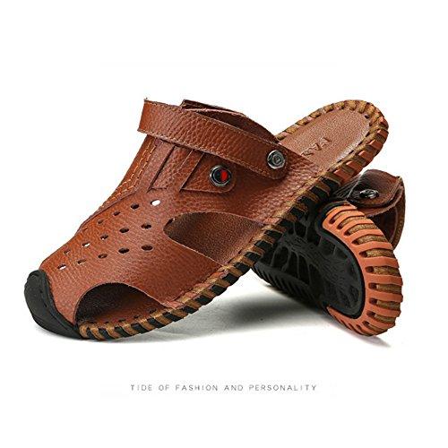 la regolabili per per al il spiaggia traspiranti sandali antiscivolo pelle coperto tempo adatti in sandali uomo e Sandali da all'aperto Brown libero wxzqOT0vq
