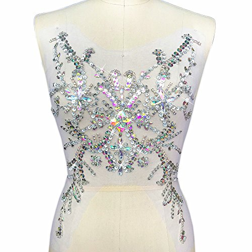 Exquisite Embroidery Beaded Sequin Sew on Rhinestones Applique Manual Collar Waist Costume Fine Motif Wedding Dress Trimming 28x49cm