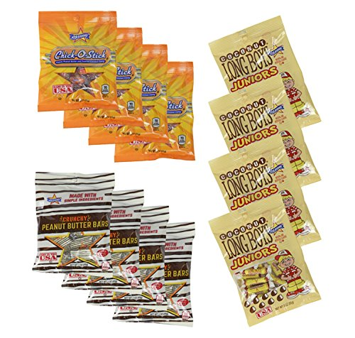 Set of 12 - Crunchy Peanut Butter Bars - Coconut Long Boys Juniors - Chick-o-Sticks - 3oz Per Bag - The Perfect Nostalgic Snacks!