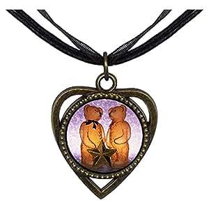 Chicforest Bronze Retro Style happy family Christmas Heart Shaped Pendant