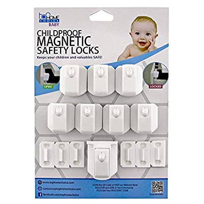 Magnetic Baby Safety Cabinet Locks, 8 Locks + 2 Keys | Includes 3M Adhesives and Screws | By Top Home Choice