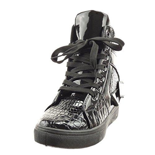 Sopily - Scarpe da Moda alti alla caviglia donna pelle di serpente fibbia verniciato Tacco zeppa piattaforma 7 CM - Nero