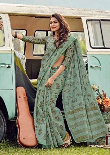 Designer di Lino di seta con stampa digitale Ricco Partito Formale Saree Sari Camicetta di Seta Indiana Etnica Donne con UnCucito Camicetta 9248