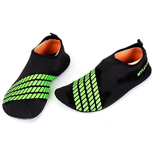 YiWa rápido seco buceo calcetines antideslizante transpirable Barefoot suave zapatos de agua playa calcetines para buceo surf natación playa Yoga verde