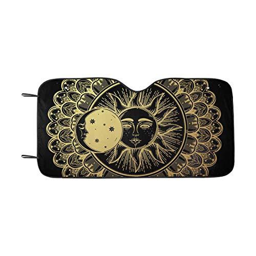 INTERESTPRINT Sun Eclipse Mandala Round Ornament Front Windshield Sun Shades, Accordion Folding Auto Sunshades for Car Truck SUV