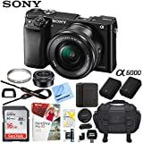 Sony Alpha a6000 Mirrorless Digital Camera 24.3MP SLR (Black) w/16-50mm Lens ILCE-6000L/B with Extra Battery Case 16GB Memory Deluxe Pro Bundle (Essential 16GB Kit, Black)