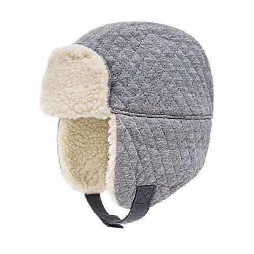 Keepersheep Baby Boy Ushanka Earflap Winter Trooper Hat Cap, Kids Trapper Hat (Mid-Gray, 12-18 Months)