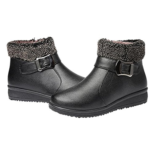 Fur 6 Flat Winter Ankle grand Boots Shoes Hee Womens Warm Snow Black Boots 7wannx