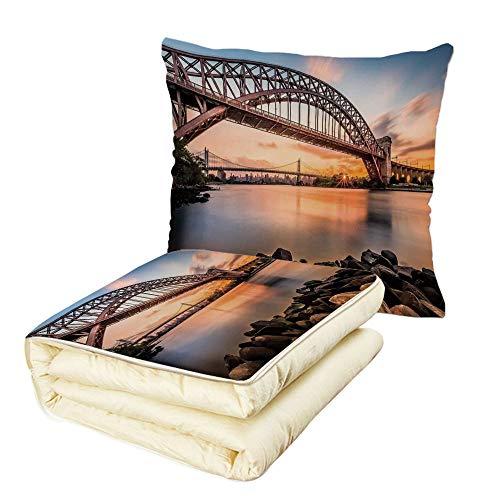 iPrint Quilt Dual-Use Pillow Landscape Sunset Evening View P
