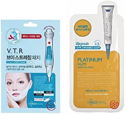 Mediheal Pack de 2 máscaras – v.t.r. V Stretching Patch doble Lifting y Upgrade X3 Platinum v-life Mask – cosméticos, etnia coreana: Amazon.es: Belleza