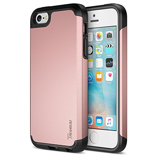 Trianium iPhone SE Case, [Protak Series] Ultra Protective Cases for Apple iPhone SE (2016) & iPhone 5S 5 [Rose Gold] Dual Layer + Shock-Absorbing Hard Bumper Cover