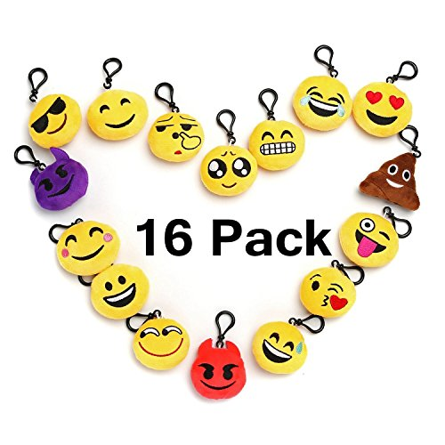 Emoji Mini Plush Pillows for Party Decorations , Sets of 16 Keychain Cushion Goody Bags Fillers Toys, Kids Party Supplies Favors, Novelty Toys Pinata Fillers for School Rewards - Party Favor Mini Pinata
