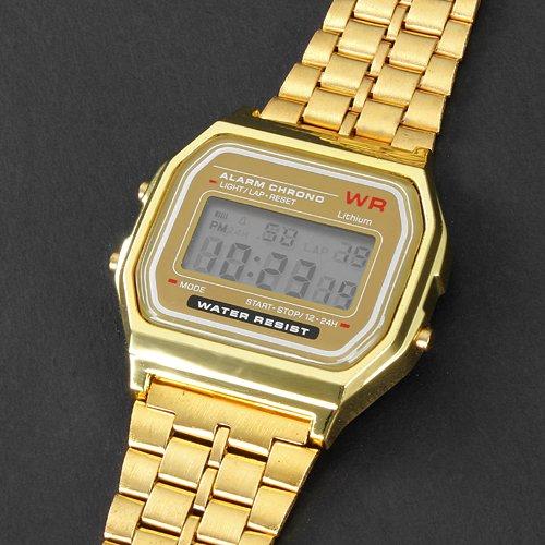 vestido reloj de los hombres del reloj multifunción banda de aleación de línea digital lcd cuadrado: Amazon.es: Relojes
