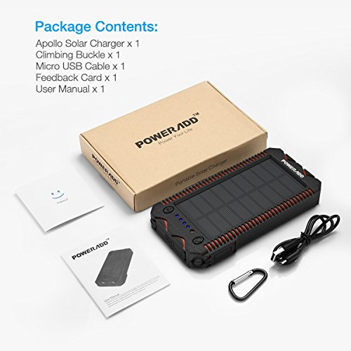 [Upgraded] Poweradd Apollo 2 Solar Charger 12000mAh Portable Solar Panel Power Bank Waterproof/Shockproof/Dustproof Dual USB Port Solar Battery for Emergency Outdoor Camping Travel