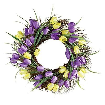 Purple and Yellow Tulip Wreath Door Decor, Polyester, Plastic, Wicker