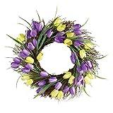 Purple and Yellow Tulip Wreath Door Decor