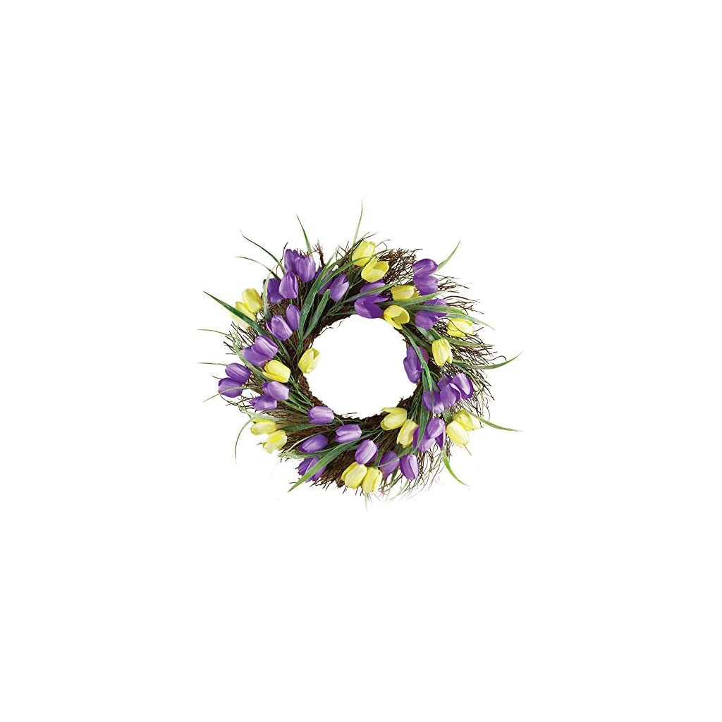 Collections-Etc-Purple-and-Yellow-Tulip-Floral-Wreath-Outdoor-and-Indoor-Decor
