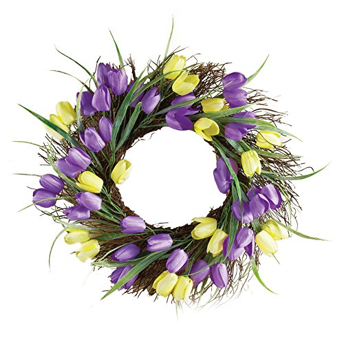Purple Yellow Tulip Wreath Decor