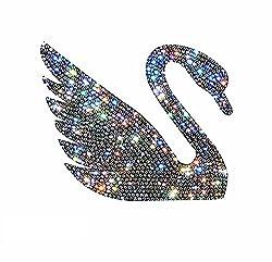 Car Bumper Rhinestone Swan Faces Right Sticker