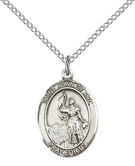 Amazon.com: Plata de ley St. Juana De Arco Colgante con 18 ...
