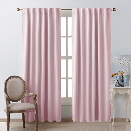 Blackout Curtain Panels for Girls Room  Baby Pink 52W  84L 2 Panels Noise Reducing Back Tab Blackout Draperies by NICETOWN  (Pink Tab Top Curtains)