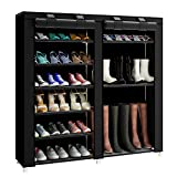 FKUO 43.3-inch 7-Layer 9-Grid Non-Woven Fabrics Large Shoe Rack Organizer Removable Shoe Storage for Home Furniture Shoe Cabinet(Black-B)