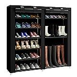 FKUO 43.3-inch 7-layer 9-grid black Non-woven fabrics large shoe rack organizer removable shoe storage shoe racks for home furniture shoe cabinet (black B)