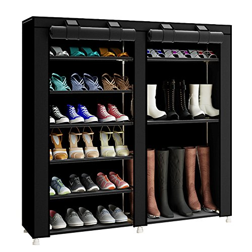 FKUO 43.3-inch 7-layer 9-grid black Non-woven fabrics large shoe rack organizer removable shoe storage shoe racks for home furniture shoe cabinet (black B) by FKUO
